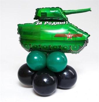 Фигура Танк на стойке из шаров (ручная работа) - фото 44784