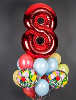 Фонтан из цифры, шаров пастель и фольги на 8 марта - фото 44812
