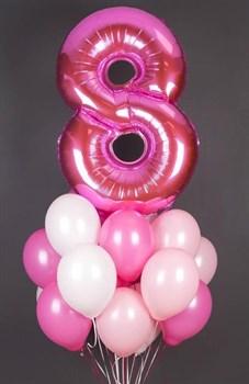 Фонтан с цифрой 8 и пастельными шариками - фото 44823