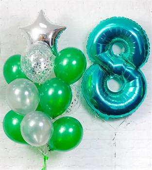 Сет Тиффани с зеленым и серебром - фото 44899