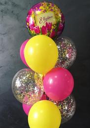 Фонтан из конфетти и пастельных шариков на 8 марта