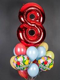 Фонтан из цифры, шаров пастель и фольги на 8 марта