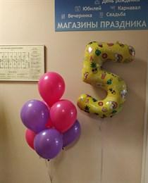 Фонтан на 5 лет с желтой цифрой